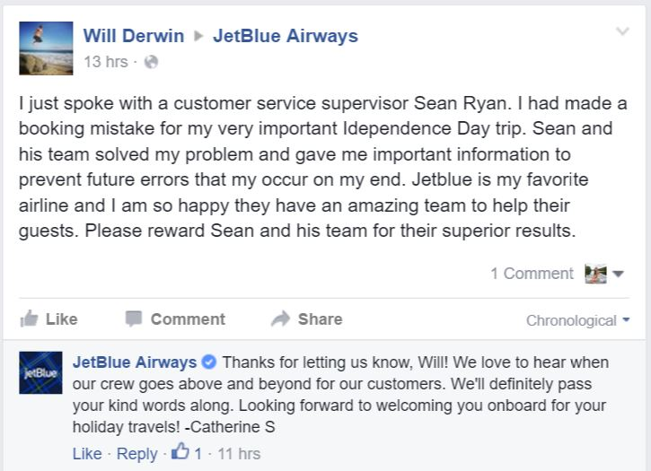 Respond to Comments on Social Media - JetBlue