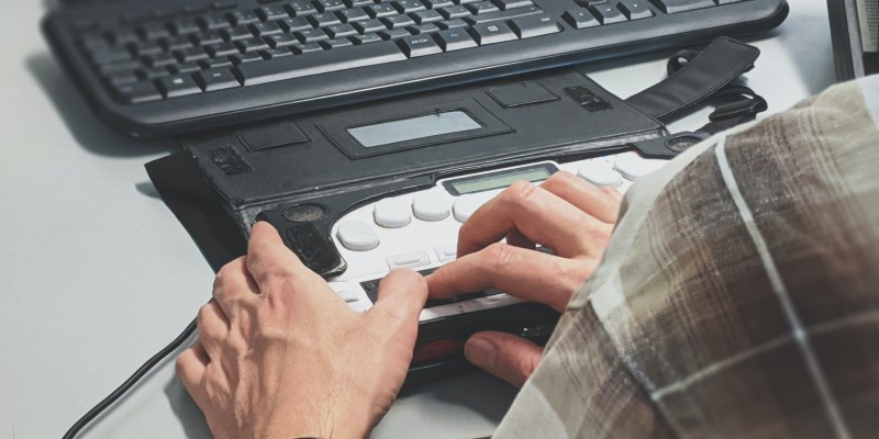 Person using ADA keyboard