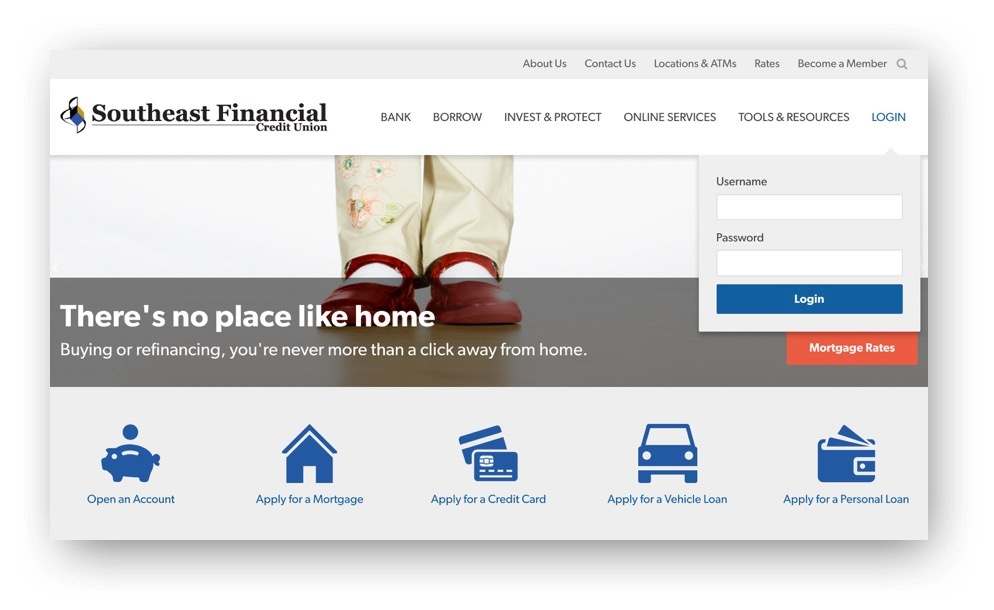 Southeast Financial Credit Union home page image