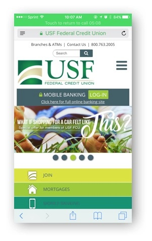 USF Federal Credit Union mobile site image