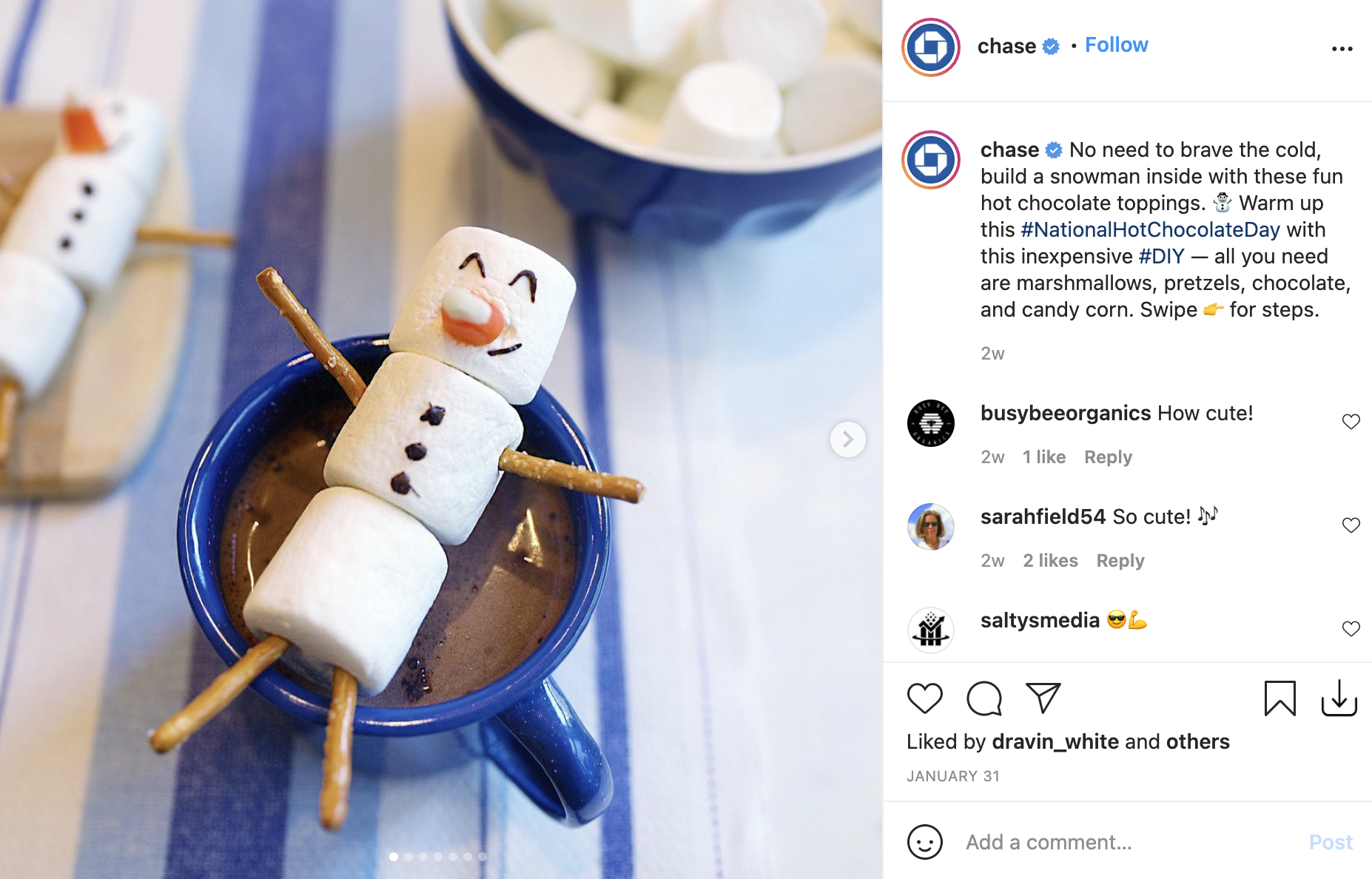 chase bank instagram account