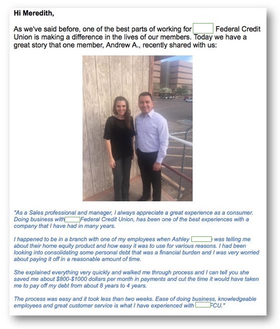AERO Member Testimonial Email