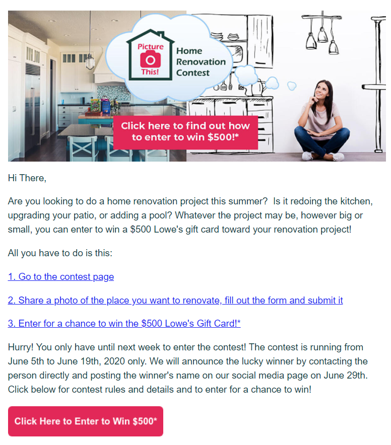 marketing email contest